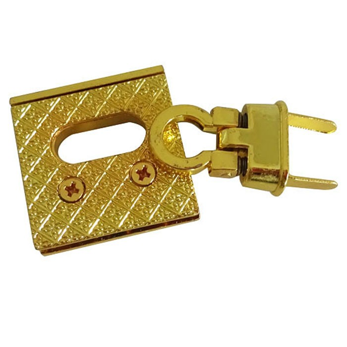 Gold Tone Square Bag Flip Lock