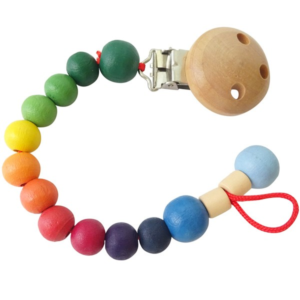 Wooden Pacifier Clip with Stunning Beads