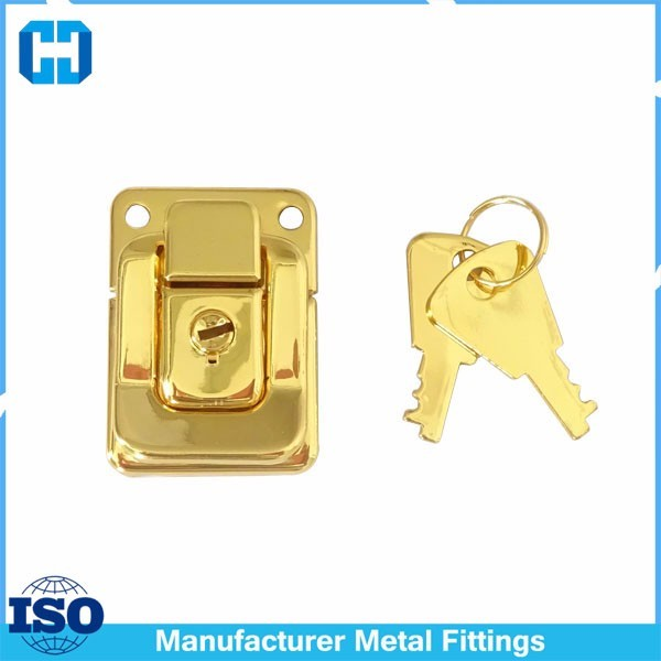 Gold Color Jewelry Box Latch Lock With Key Lock and Key Catch