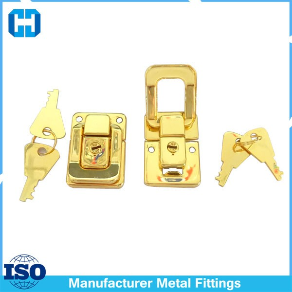 Gold Color Jewelry Box Latch Lock With Key
